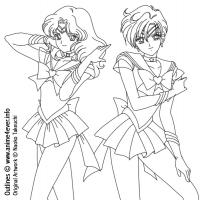 Sailor Moon - Sailor Uranus And Sailor Neptun (LineArt)